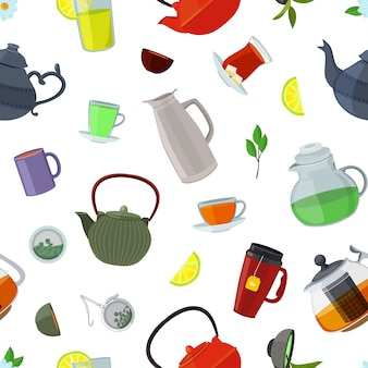 Cartoon tea kettles and cups pattern or