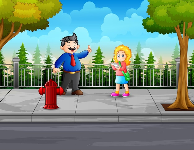 Cartoon a teacher man and student on the road