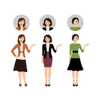Cartoon teacher women set