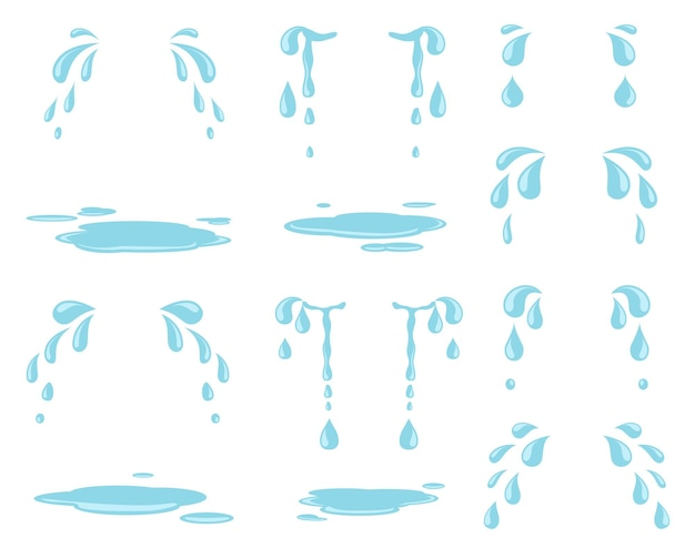 만화 눈물. 물 얼룩, 비가 내리는 방울 및 자연 스트림. 수양 방울과 울음 눈물. 격리 된 물방울 땀과 빗방울이 설정합니다. 비 외침 물 표현, 불행한 우울증 그림