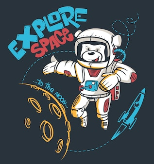 Cartoon teddy bear astronaut, space graphic,  t-shirt print.