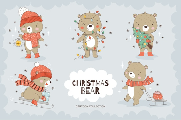 Cartoon teddy bear character collection.