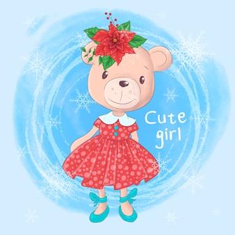 Cartoon teddy bear girl and poinsettia.