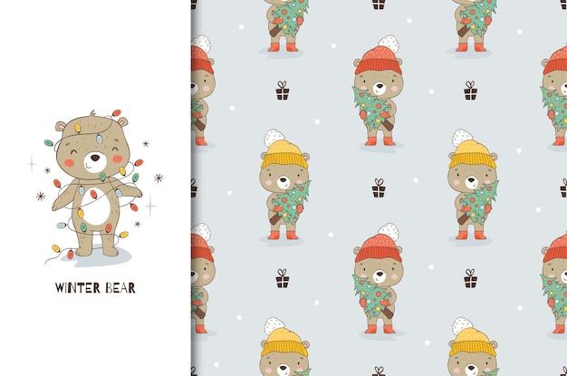 Мультяшный плюшевый мишка в рождественских украшениях гирлянд.