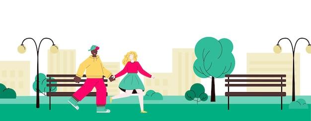 夏の公園の街並みバナーを歩く漫画の十代のカップル