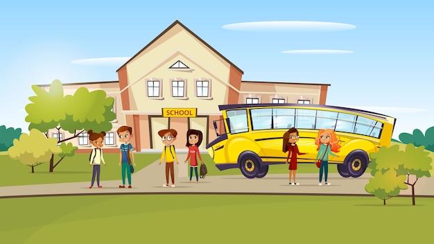 Cartoon teen kids pupil standing near school bus after lessons