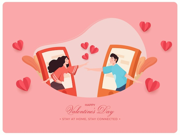 Cartoon teenage boy and girl interacting on video call for happy valentine's day