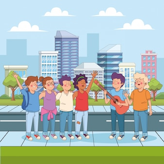 Cartoon teenager boy playing guitar for his friends in the street