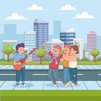 Cartoon teenager boy playing guitar for his happy friends in the street