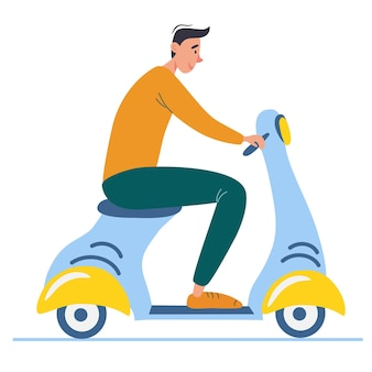 Мультяшный подросток за рулем самоката. вид сбоку молодого мужчины с мотоциклом. векторная иллюстрация. изолированные милый водитель движется по городу, векторные иллюстрации