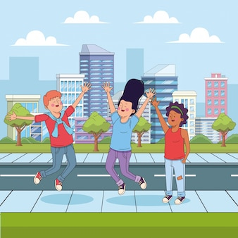 Cartoon teenager friends having fun in the street