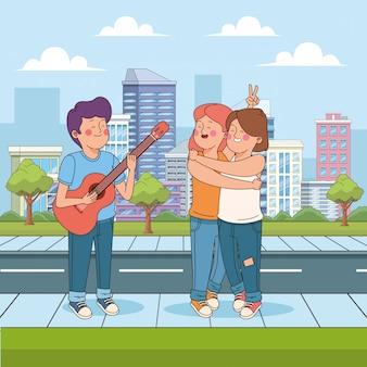 Cartoon teenager friends in the street