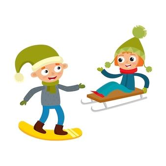 Мультфильм подростков в зимней одежде, мультфильм на белом фоне. девушка на санях, мальчик со сноубордом, веселые зимние занятия, досуг на свежем воздухе