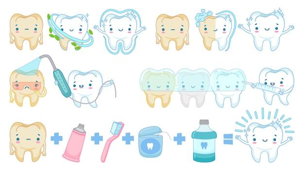 Отбеливание зубов мультфильм. белый чистый зубной талисман, чистка зубов и грустный желтый набор иллюстраций зубов.