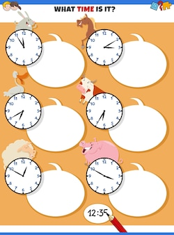 Cartoon of telling time educational task with clock faces and funny farm animal characters