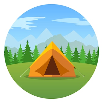 Cartoon tent in a landscape of mountains icon.