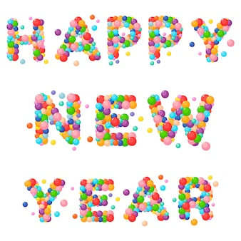Cartoon text for kids of the colored balls. happy new year.