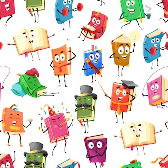 Cartoon textbooks, bestseller books happy characters seamless pattern, vector background. school library and education books reading novel or dictionary with funny smile faces on teaching or sport