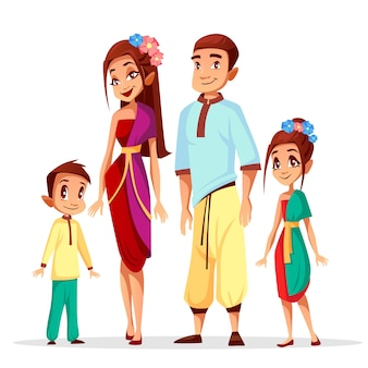 Cartoon Thai people characters of family, woman and man with children or kids