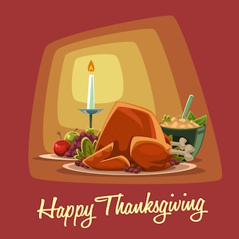 Cartoon thanksgiving dish isolated template set