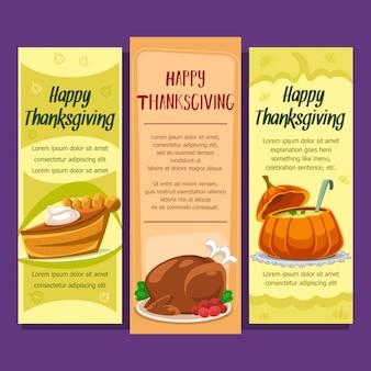 Cartoon thanksgiving food vertical banner template