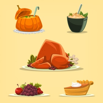 Cartoon thanksgiving roasted turkey isolated illustration