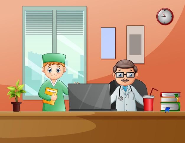 사무실 방에서 의사를 만화