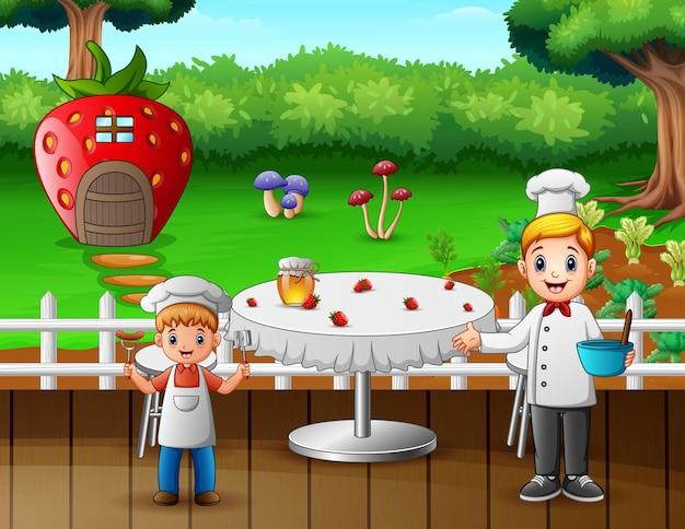 2人のシェフと一緒にレストランのテーブルを漫画