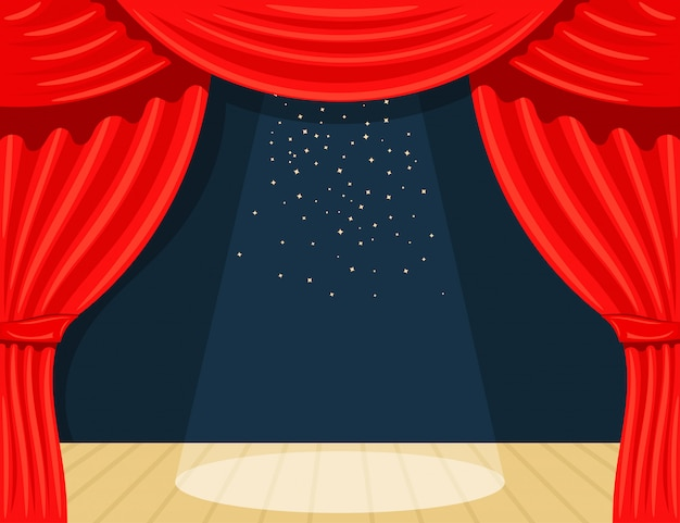 Cartoon theater. theater curtain with spotlights beam and stars. open theater curtain. red silk side scenes on stage