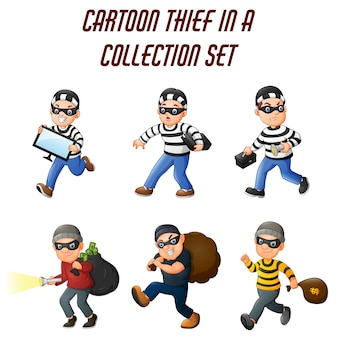 Cartoon thief in a collection of different actions