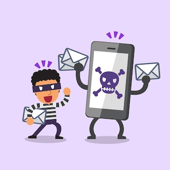 Cartoon thief and smartphone with skull