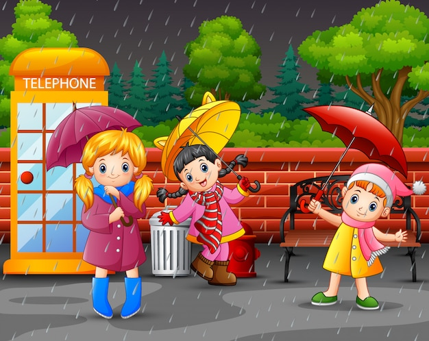 Cartoon three girl carrying umbrella