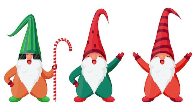 Персонаж мультфильма три гнома в разных позах