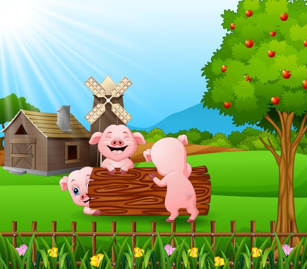Cartoon three little pigs playing in the farm background