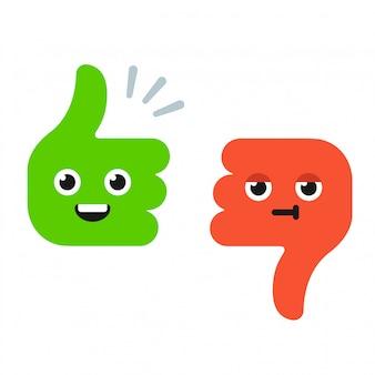 Мультфильм пальцы вверх и пальцы вниз с забавными лицами