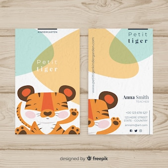 Cartoon tiger business card template