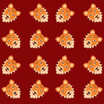 Мультяшный тигр лицо узор фона.