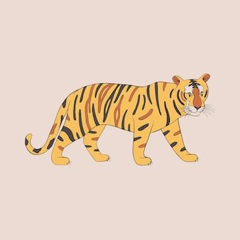Мультяшный тигр, изолированные на белом фоне