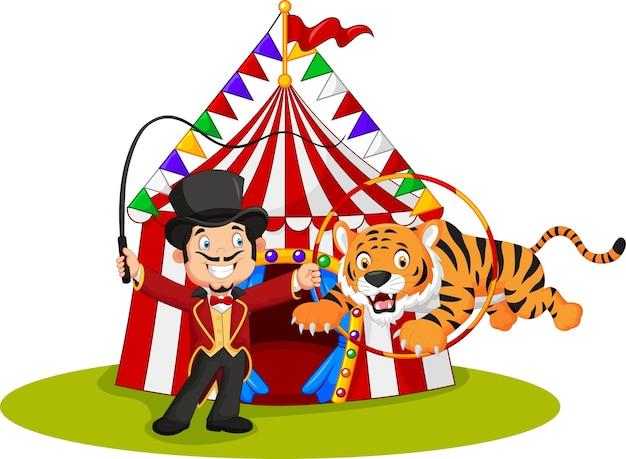 Cartoon tiger jumping through ring