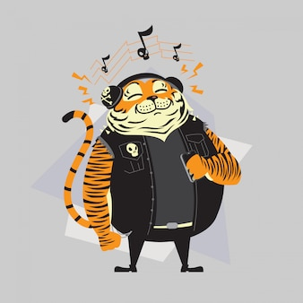 Cartoon tiger listening to music