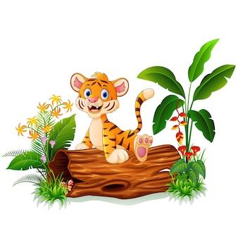 Cartoon tiger sitting on tree trunk