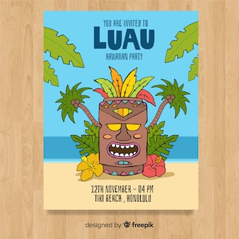 Cartoon tiki mask luau poster template