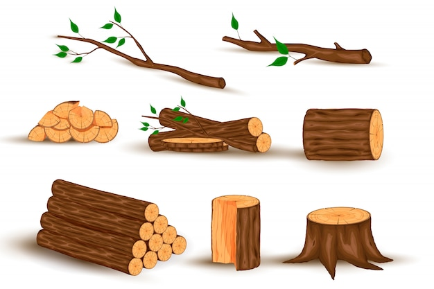 Cartoon timber. wood log and trunk, stump and plank. wooden firewood logs. hardwoods construction materials