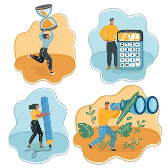Cartoon of time management, teamwork, office work. tiny people with big calculator, binocular, pencil, hoursglasess.
