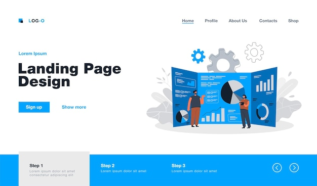 Cartoon tiny analysts and giant research dashboard with data landing page in flat style