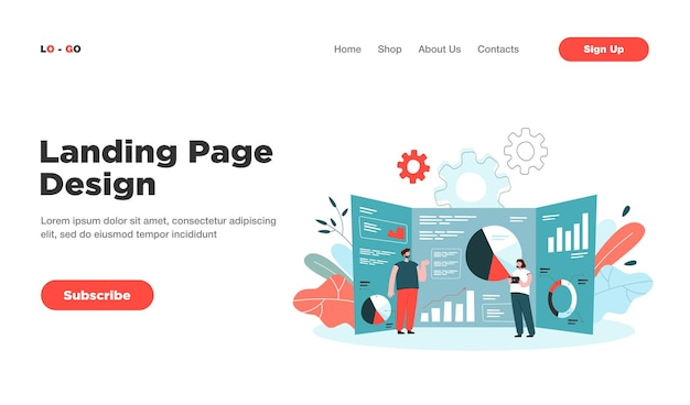Cartoon tiny analysts and giant research dashboard with data landing page. landing page