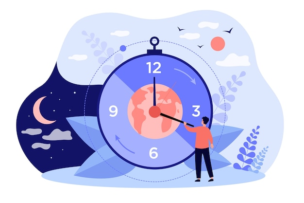 昼と夜のリズムが変わる時計の近くの小さなキャラクターを漫画します。