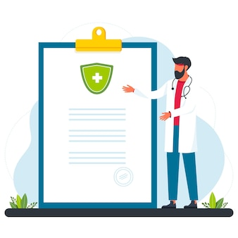 Cartoon tiny doctor recommending therapy and medication with drugs and painkillers to patient. patient, physician, treatment flat vector illustration. medicine, pharmaceutical, and healthcare concept.