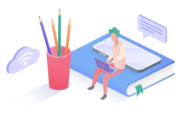 Cartoon tiny man student or worker character sitting on big book with laptop