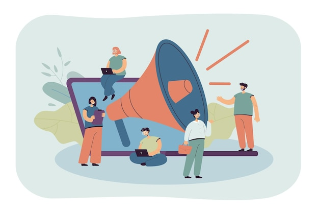Cartoon tiny managers with giant loudspeaker and laptop. flat illustration.